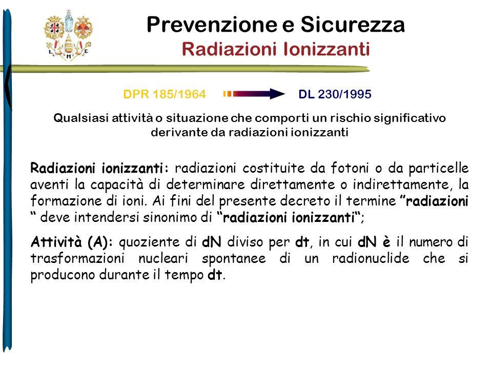 Prevenzione e Sicurezza Radiazioni Ionizzanti DPR 185/1964 DL 230/1995 Radiazioni ionizzanti: radiazioni costituite da fotoni o da particelle aventi l