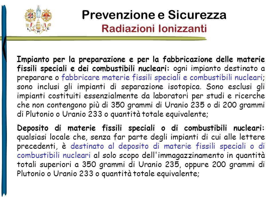 Prevenzione e Sicurezza Radiazioni Ionizzanti Impianto per la preparazione e per la fabbricazione delle materie fissili speciali e dei combustibili nu