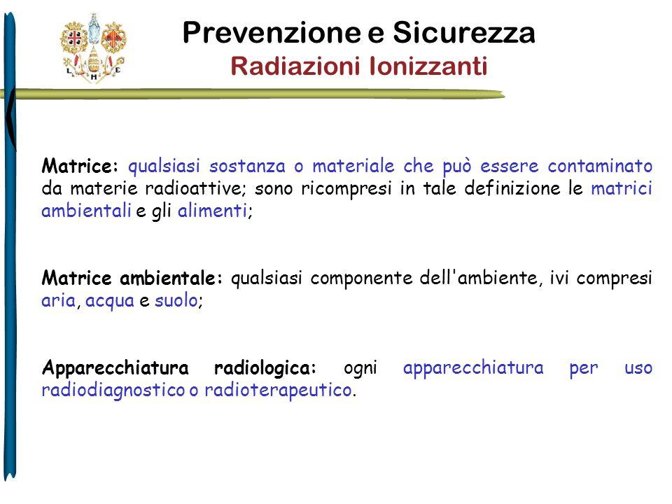 Prevenzione e Sicurezza Radiazioni Ionizzanti Esposizione: qualsiasi esposizione di persone a radiazioni ionizzanti.