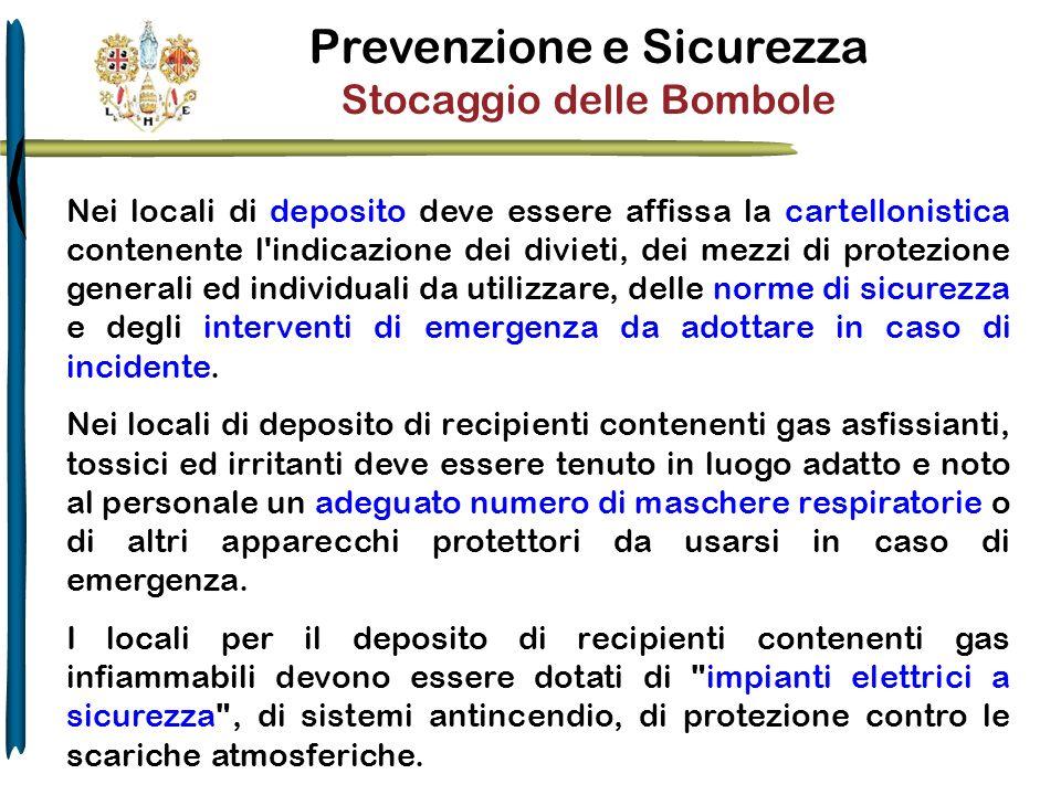 Prevenzione e Sicurezza Stocaggio delle Bombole Nei locali di deposito deve essere affissa la cartellonistica contenente l'indicazione dei divieti, de