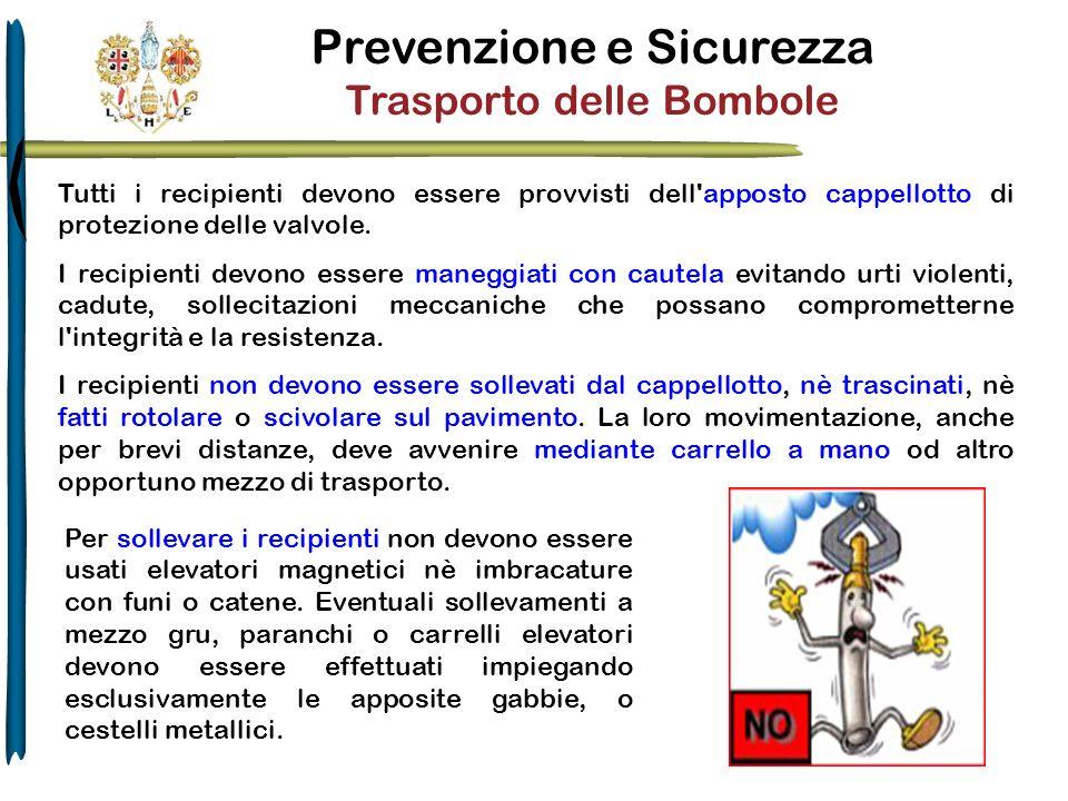 Prevenzione e Sicurezza Trasporto delle Bombole Tutti i recipienti devono essere provvisti dell'apposto cappellotto di protezione delle valvole. I rec