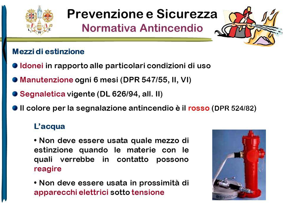 Prevenzione e Sicurezza Normativa Antincendio Mezzi di estinzione Idonei in rapporto alle particolari condizioni di uso Manutenzione ogni 6 mesi (DPR