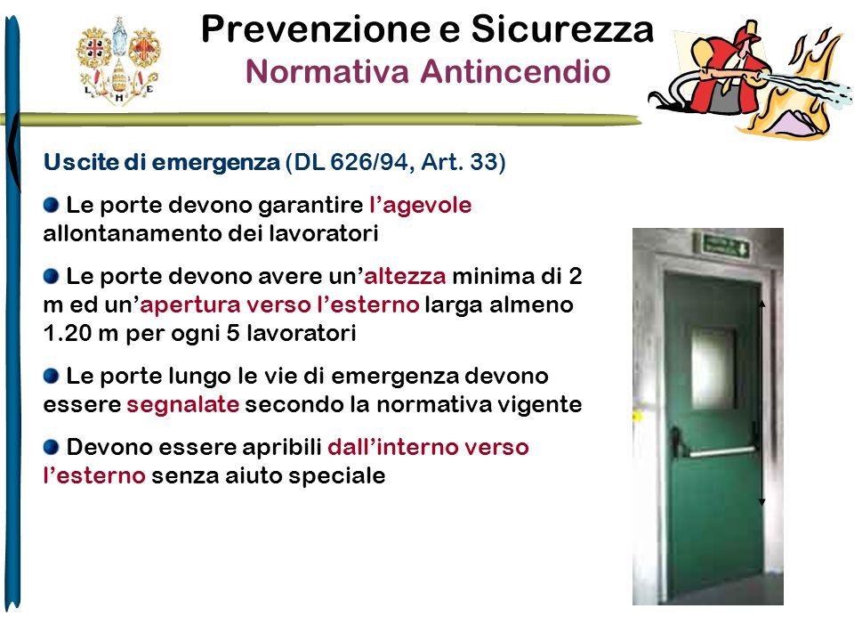 Prevenzione e Sicurezza Normativa Antincendio Uscite di emergenza (DL 626/94, Art. 33) Le porte devono garantire lagevole allontanamento dei lavorator