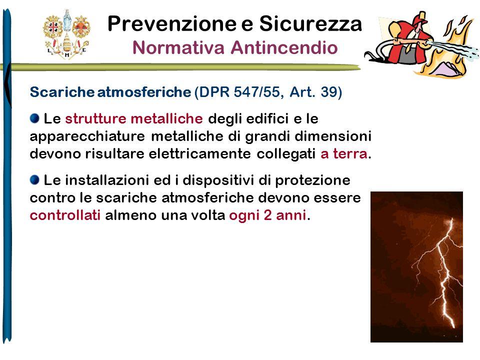 Prevenzione e Sicurezza Normativa Antincendio Scariche atmosferiche (DPR 547/55, Art. 39) Le strutture metalliche degli edifici e le apparecchiature m