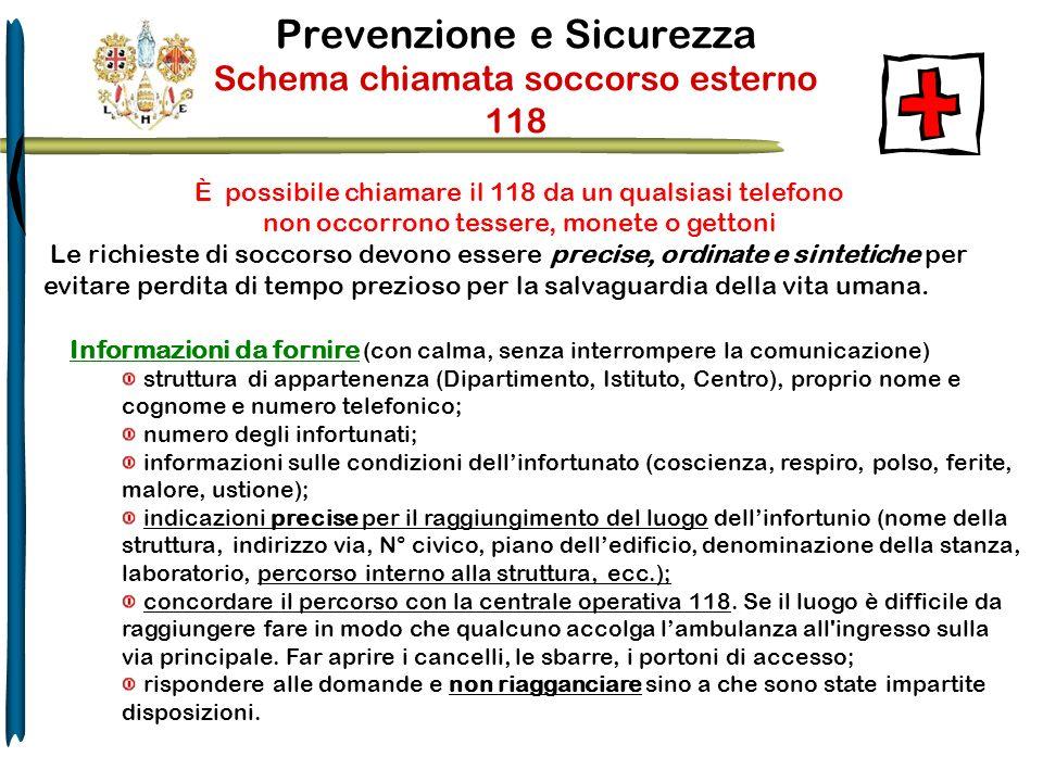 Prevenzione e Sicurezza Schema chiamata soccorso esterno 118 È possibile chiamare il 118 da un qualsiasi telefono non occorrono tessere, monete o gett