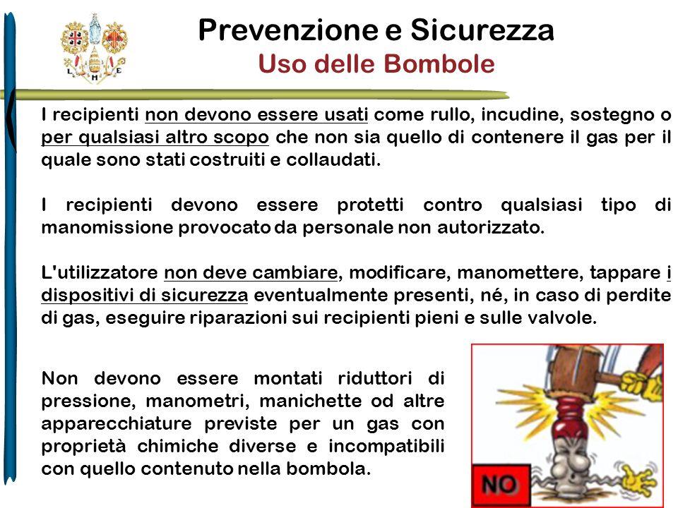 Prevenzione e Sicurezza Uso delle Bombole I recipienti non devono essere usati come rullo, incudine, sostegno o per qualsiasi altro scopo che non sia
