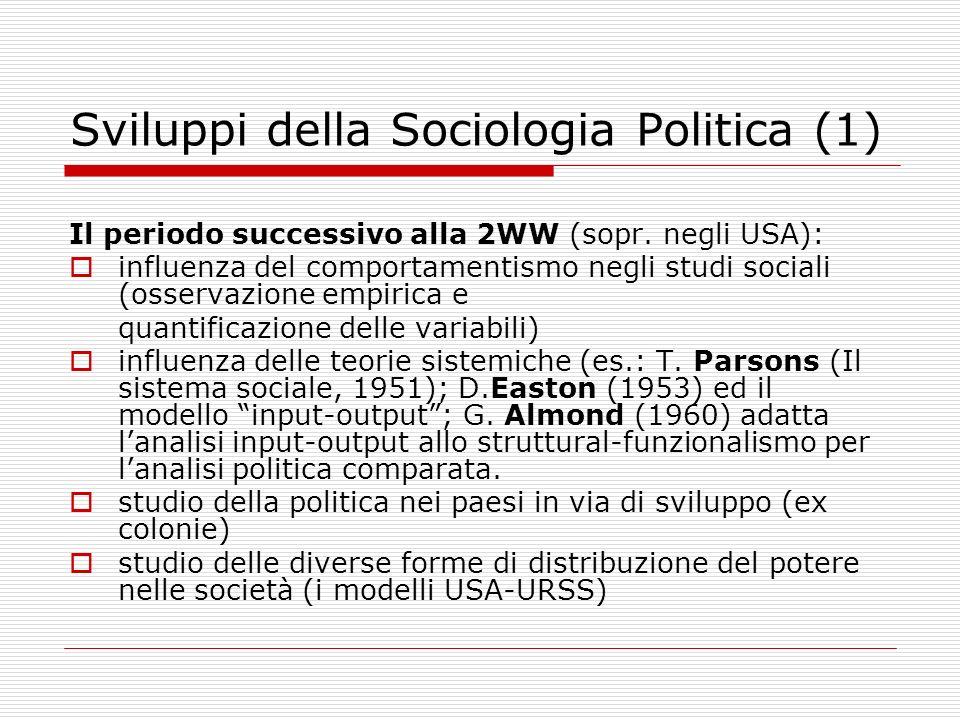 Sviluppi della Sociologia Politica (2) Analisi delle organizzazioni della volontà politica collettiva in reazione allo studio di un formalistico rapporto esclusivo INDIVIDUO/STATO di eccessiva astrazione rispetto ai processi politici concreti della società contemporanea.