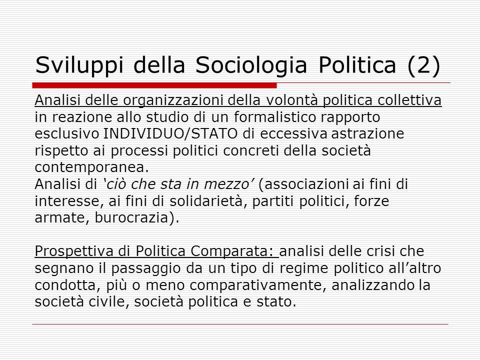 Sviluppi della Sociologia Politica (2) Analisi delle organizzazioni della volontà politica collettiva in reazione allo studio di un formalistico rappo