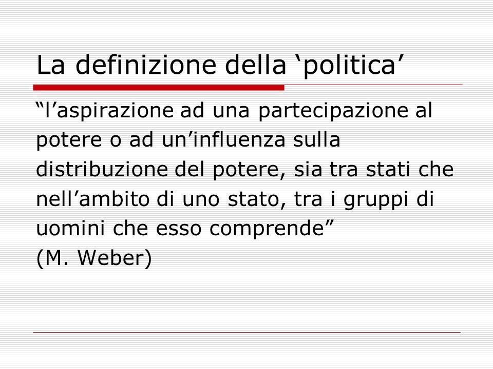 La definizione della politica laspirazione ad una partecipazione al potere o ad uninfluenza sulla distribuzione del potere, sia tra stati che nellambi