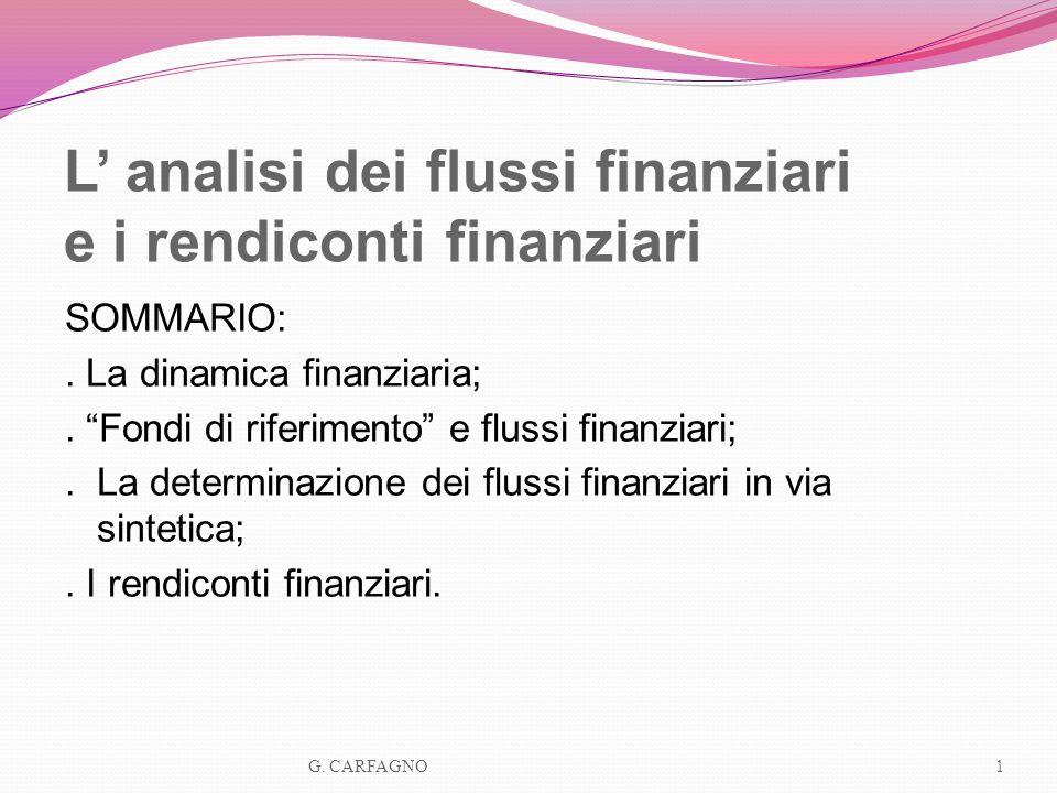 L analisi dei flussi finanziari e i rendiconti finanziari SOMMARIO:. La dinamica finanziaria;. Fondi di riferimento e flussi finanziari;. La determina
