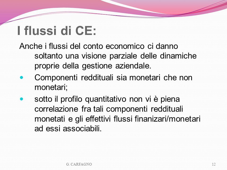 I flussi di CE: Anche i flussi del conto economico ci danno soltanto una visione parziale delle dinamiche proprie della gestione aziendale. Componenti