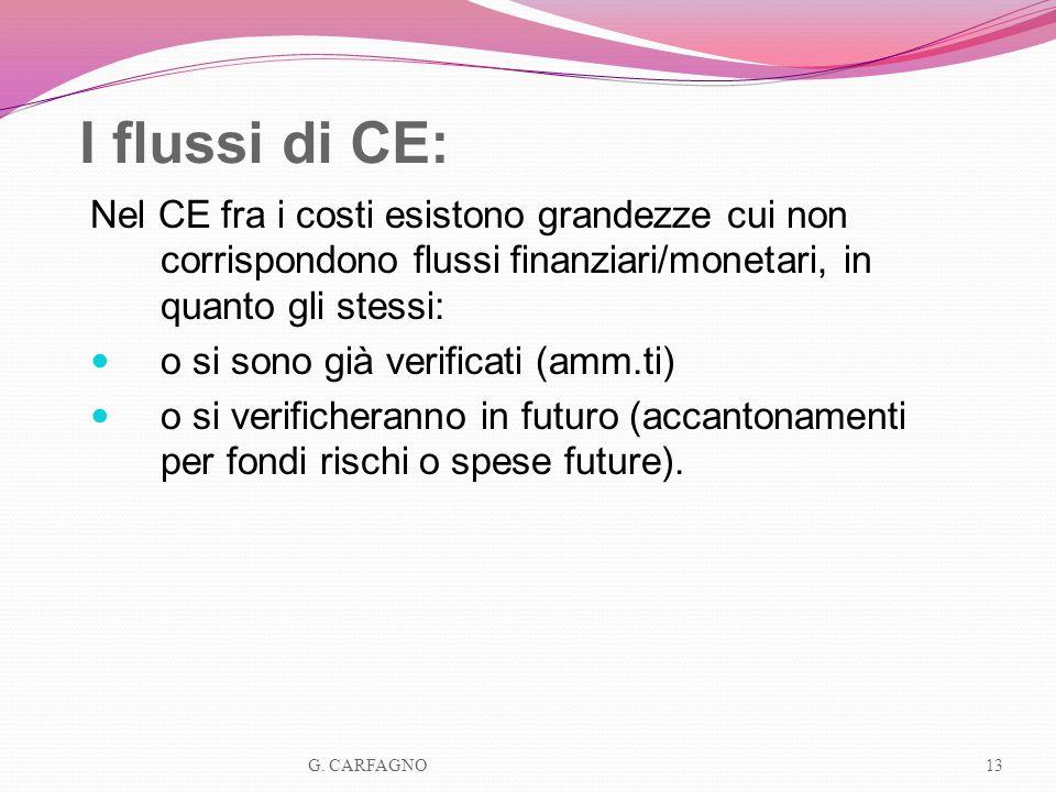 I flussi di CE: Nel CE fra i costi esistono grandezze cui non corrispondono flussi finanziari/monetari, in quanto gli stessi: o si sono già verificati