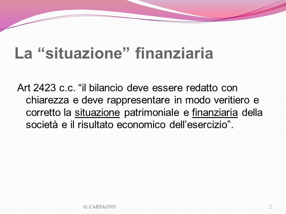 La situazione finanziaria Art 2423 c.c. il bilancio deve essere redatto con chiarezza e deve rappresentare in modo veritiero e corretto la situazione