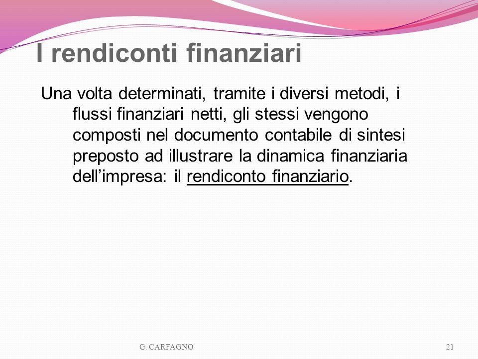 I rendiconti finanziari Una volta determinati, tramite i diversi metodi, i flussi finanziari netti, gli stessi vengono composti nel documento contabil