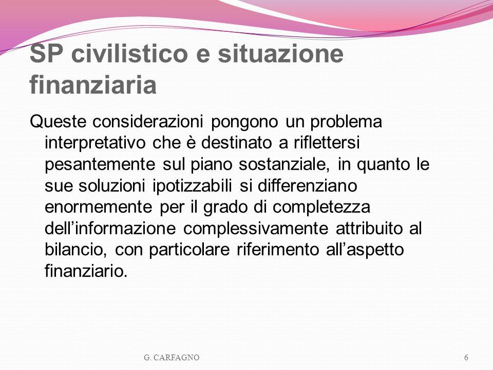 SP civilistico e situazione finanziaria Queste considerazioni pongono un problema interpretativo che è destinato a riflettersi pesantemente sul piano