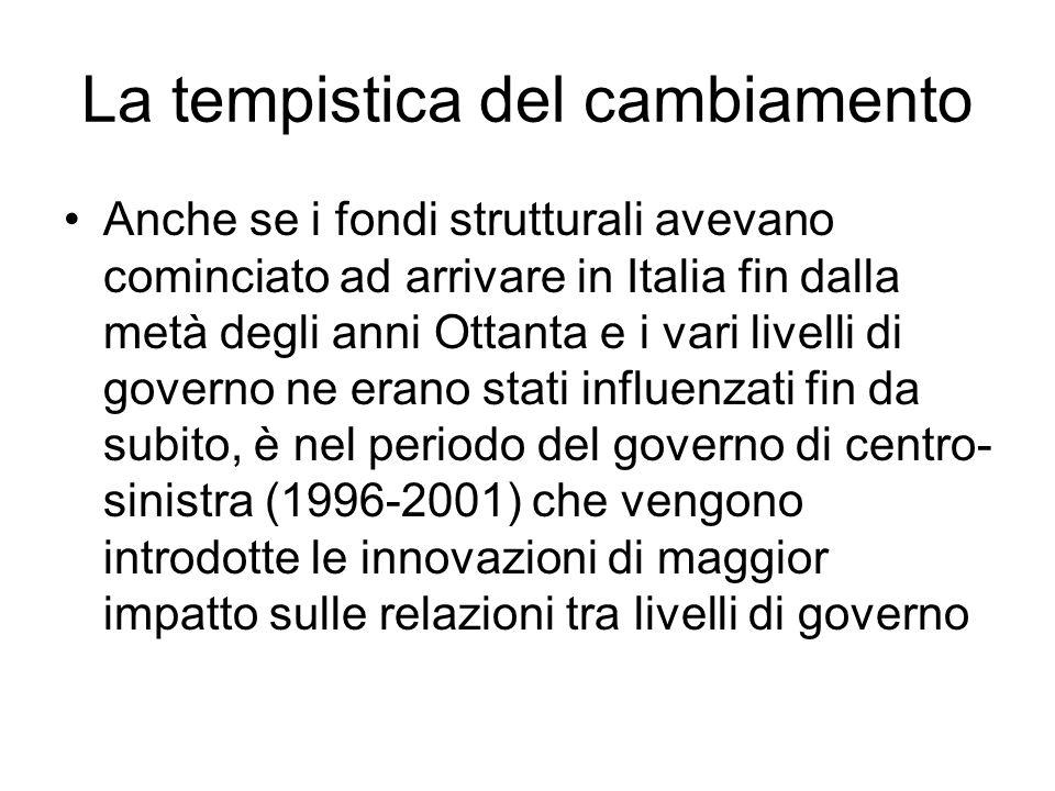 La tempistica del cambiamento Anche se i fondi strutturali avevano cominciato ad arrivare in Italia fin dalla metà degli anni Ottanta e i vari livelli