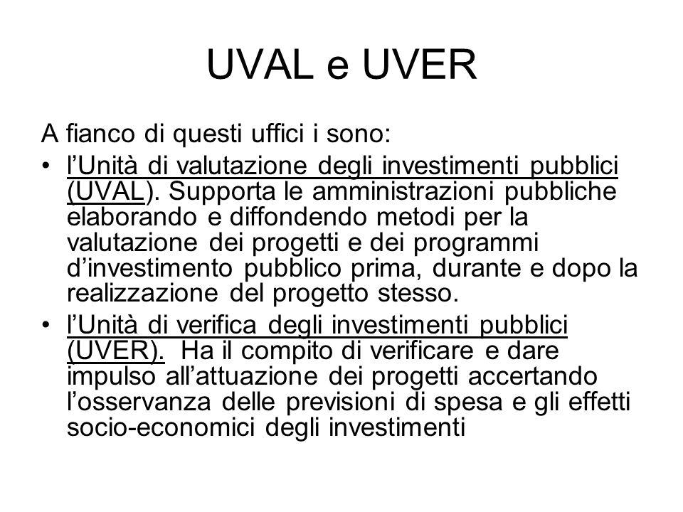 UVAL e UVER A fianco di questi uffici i sono: lUnità di valutazione degli investimenti pubblici (UVAL). Supporta le amministrazioni pubbliche elaboran