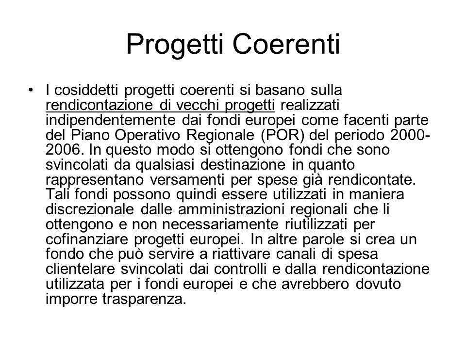 Progetti Coerenti I cosiddetti progetti coerenti si basano sulla rendicontazione di vecchi progetti realizzati indipendentemente dai fondi europei com