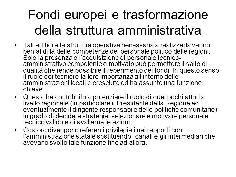 Fondi europei e trasformazione della struttura amministrativa Tali artifici e la struttura operativa necessaria a realizzarla vanno ben al di là delle