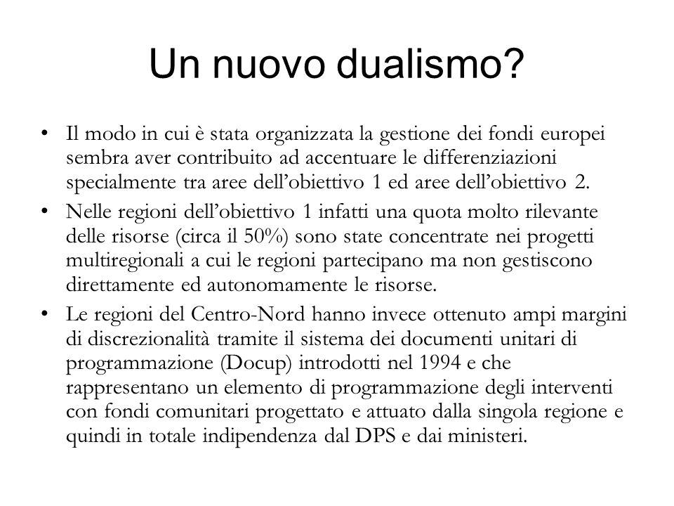 Un nuovo dualismo? Il modo in cui è stata organizzata la gestione dei fondi europei sembra aver contribuito ad accentuare le differenziazioni specialm