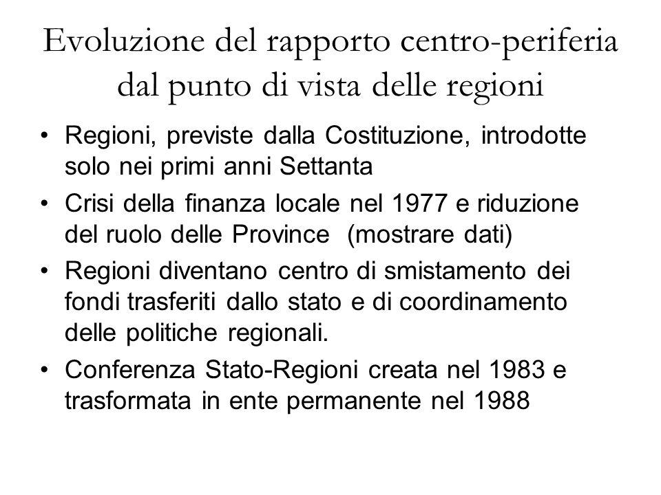 Evoluzione del rapporto centro-periferia dal punto di vista delle regioni Regioni, previste dalla Costituzione, introdotte solo nei primi anni Settant