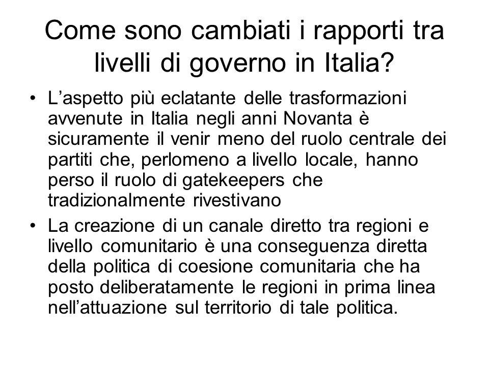 Come sono cambiati i rapporti tra livelli di governo in Italia? Laspetto più eclatante delle trasformazioni avvenute in Italia negli anni Novanta è si
