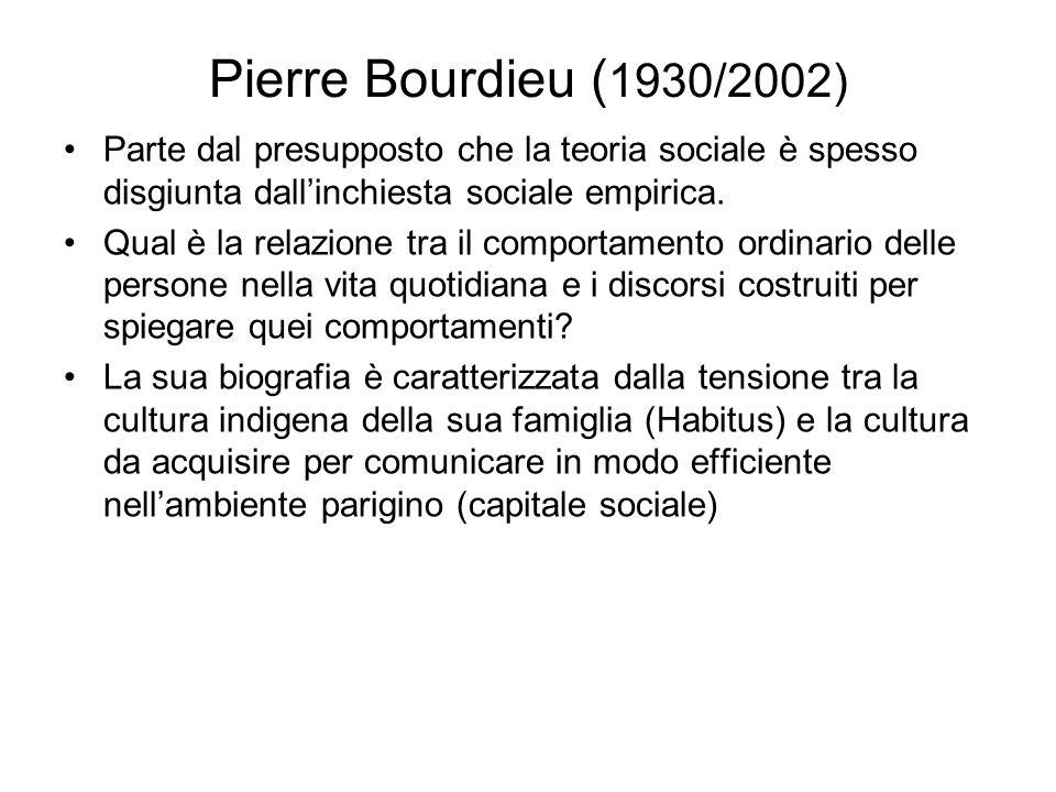 Pierre Bourdieu ( 1930/2002) Parte dal presupposto che la teoria sociale è spesso disgiunta dallinchiesta sociale empirica. Qual è la relazione tra il