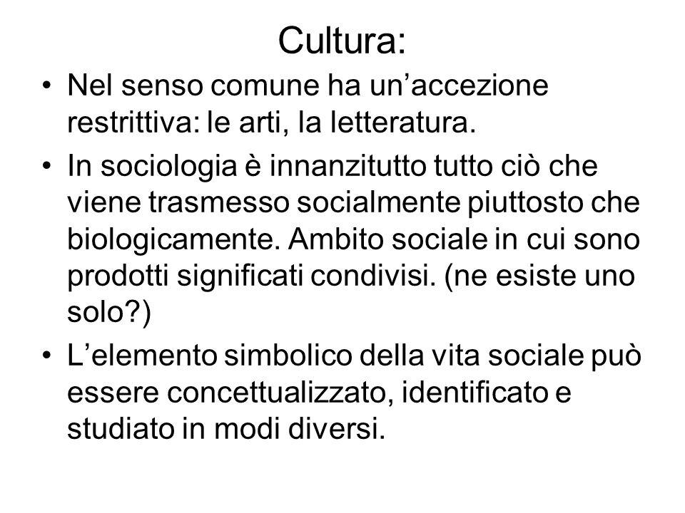 Cultura: Nel senso comune ha unaccezione restrittiva: le arti, la letteratura. In sociologia è innanzitutto tutto ciò che viene trasmesso socialmente