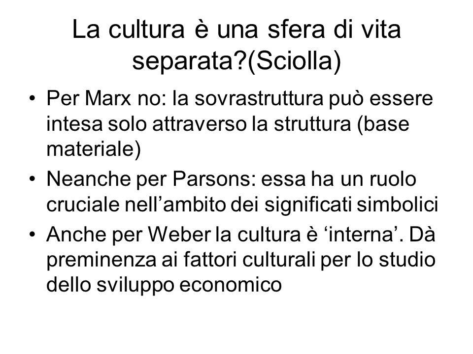 La cultura è una sfera di vita separata?(Sciolla) Per Marx no: la sovrastruttura può essere intesa solo attraverso la struttura (base materiale) Neanc