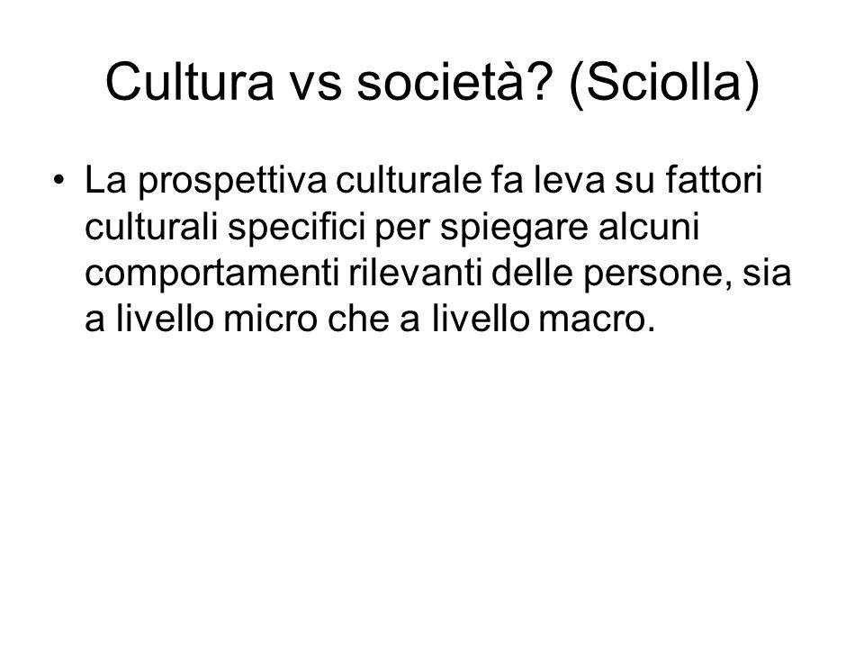 Cultura vs società? (Sciolla) La prospettiva culturale fa leva su fattori culturali specifici per spiegare alcuni comportamenti rilevanti delle person