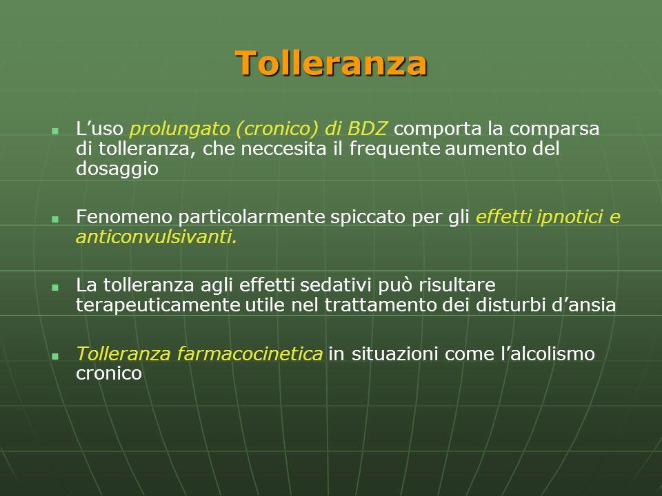 Tolleranza Luso prolungato (cronico) di BDZ comporta la comparsa di tolleranza, che neccesita il frequente aumento del dosaggio Fenomeno particolarmen