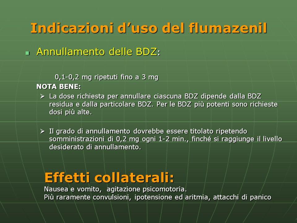 Indicazioni duso del flumazenil Annullamento delle BDZ : Annullamento delle BDZ : 0,1-0,2 mg ripetuti fino a 3 mg NOTA BENE: La dose richiesta per ann
