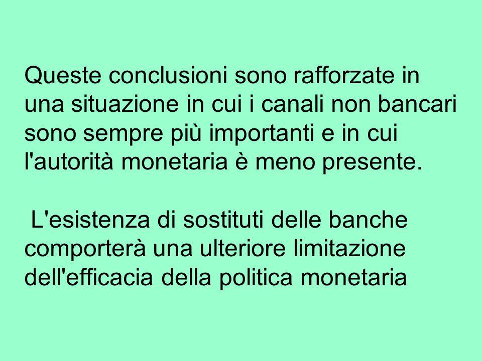 Queste conclusioni sono rafforzate in una situazione in cui i canali non bancari sono sempre più importanti e in cui l autorità monetaria è meno presente.