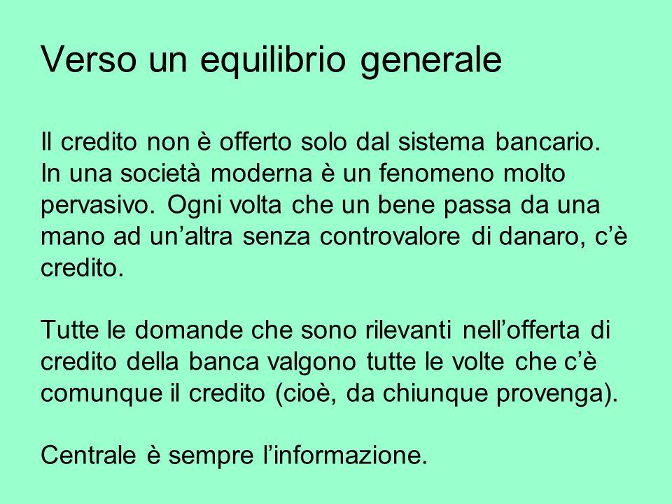 Verso un equilibrio generale Il credito non è offerto solo dal sistema bancario.