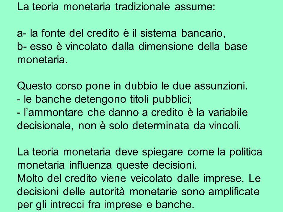 La teoria monetaria tradizionale assume: a- la fonte del credito è il sistema bancario, b- esso è vincolato dalla dimensione della base monetaria.