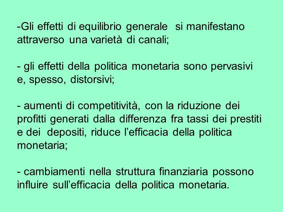 -Gli effetti di equilibrio generale si manifestano attraverso una varietà di canali; - gli effetti della politica monetaria sono pervasivi e, spesso, distorsivi; - aumenti di competitività, con la riduzione dei profitti generati dalla differenza fra tassi dei prestiti e dei depositi, riduce lefficacia della politica monetaria; - cambiamenti nella struttura finanziaria possono influire sullefficacia della politica monetaria.