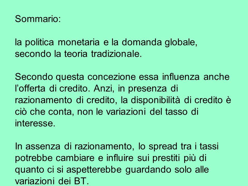 Sommario: la politica monetaria e la domanda globale, secondo la teoria tradizionale.