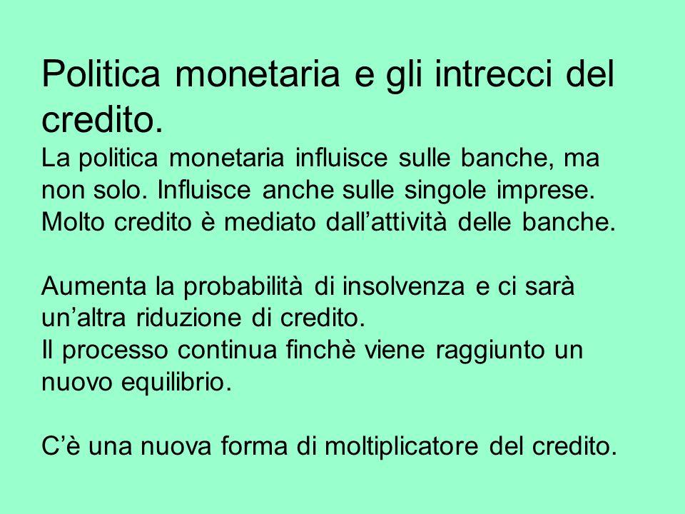 Politica monetaria e gli intrecci del credito.