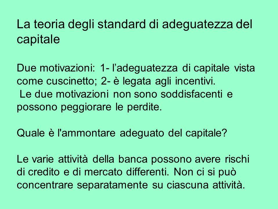 La teoria degli standard di adeguatezza del capitale Due motivazioni: 1- ladeguatezza di capitale vista come cuscinetto; 2- è legata agli incentivi.