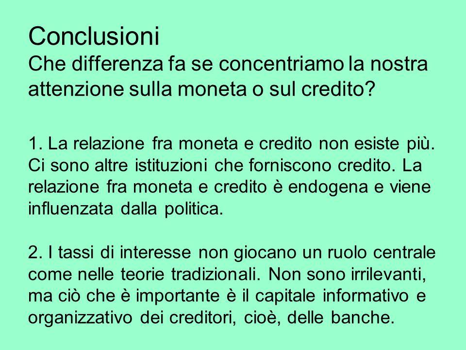 Conclusioni Che differenza fa se concentriamo la nostra attenzione sulla moneta o sul credito.