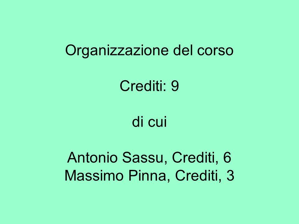 Organizzazione del corso Crediti: 9 di cui Antonio Sassu, Crediti, 6 Massimo Pinna, Crediti, 3