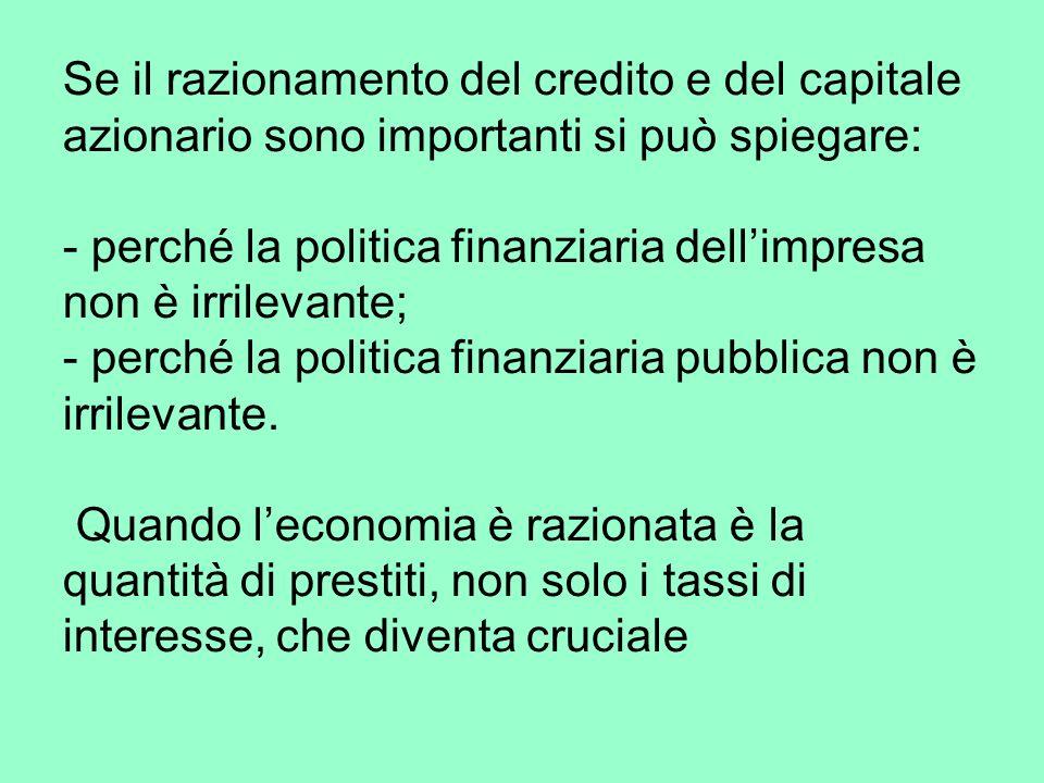 Se il razionamento del credito e del capitale azionario sono importanti si può spiegare: - perché la politica finanziaria dellimpresa non è irrilevante; - perché la politica finanziaria pubblica non è irrilevante.