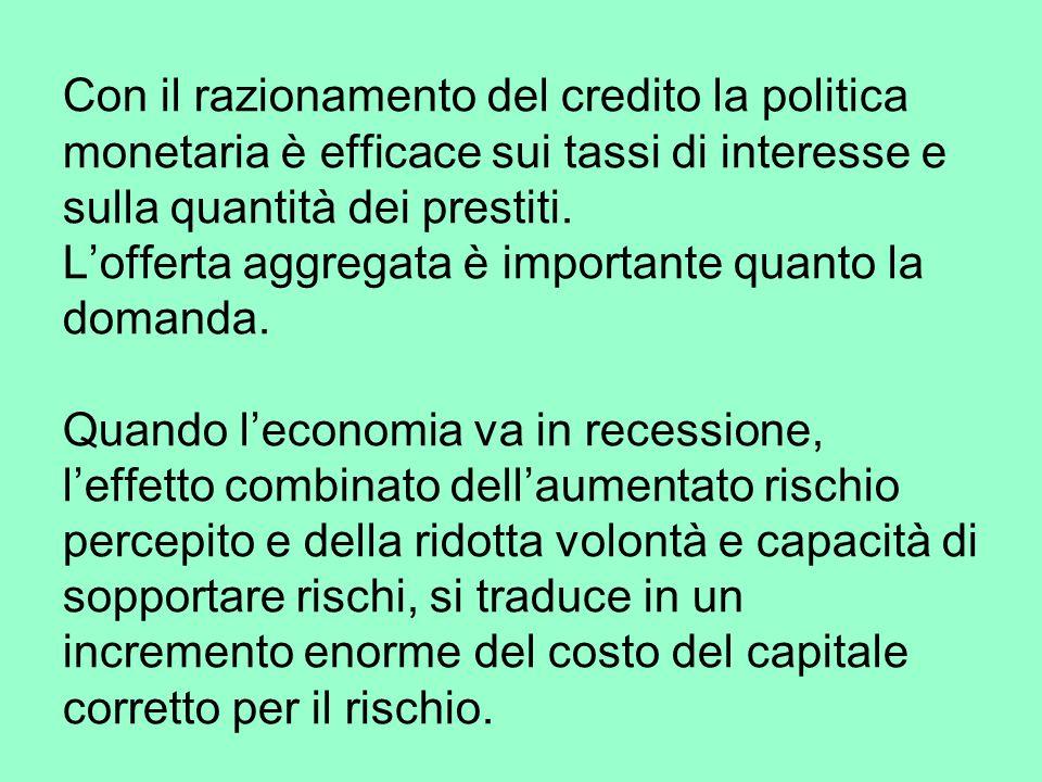 Con il razionamento del credito la politica monetaria è efficace sui tassi di interesse e sulla quantità dei prestiti.