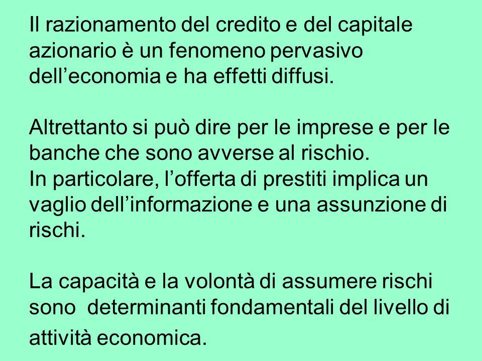 Il razionamento del credito e del capitale azionario è un fenomeno pervasivo delleconomia e ha effetti diffusi.