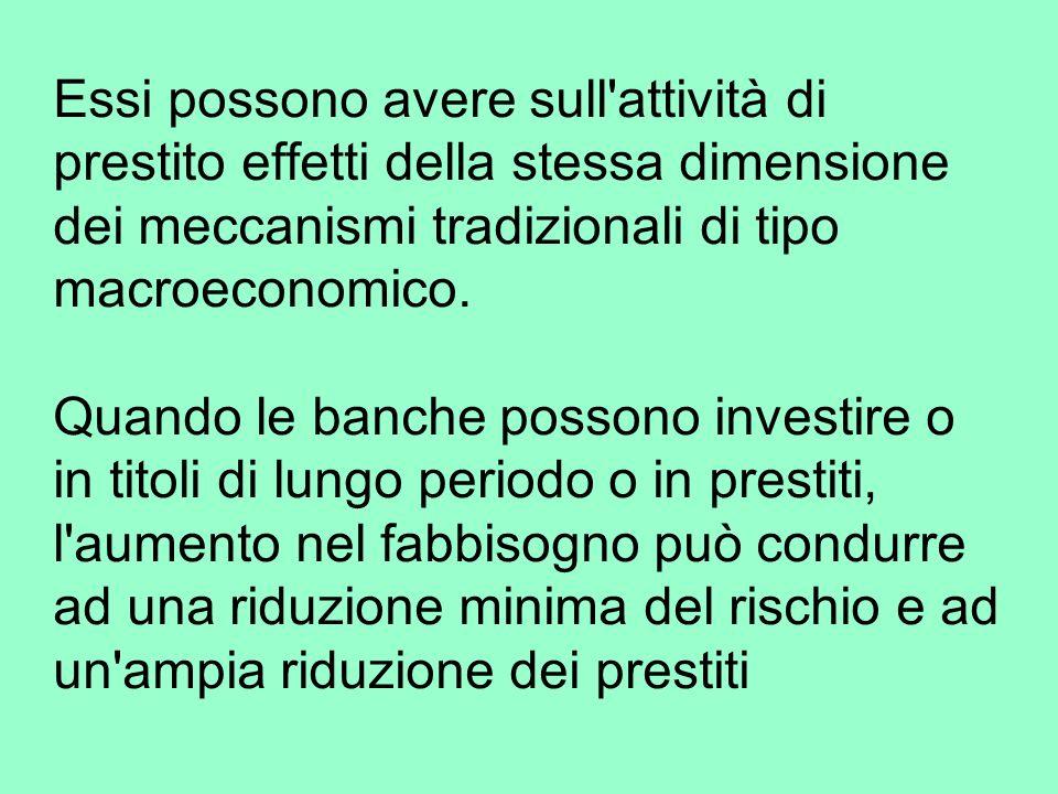 Essi possono avere sull attività di prestito effetti della stessa dimensione dei meccanismi tradizionali di tipo macroeconomico.