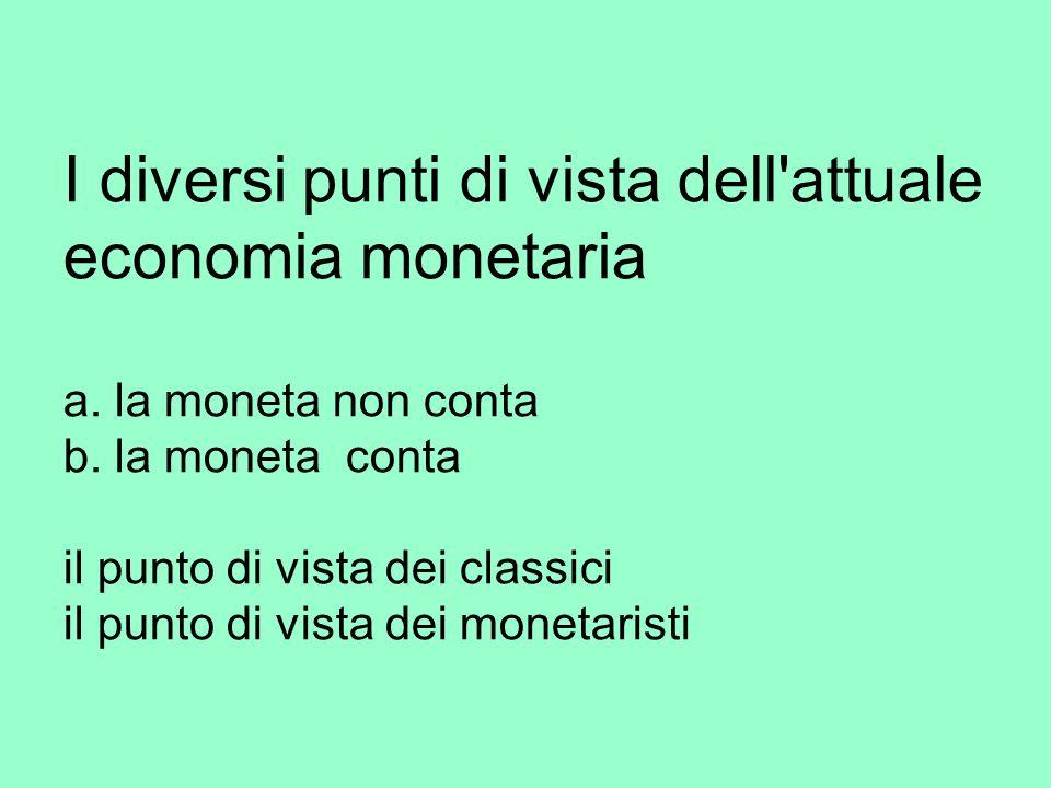 I diversi punti di vista dell attuale economia monetaria a.