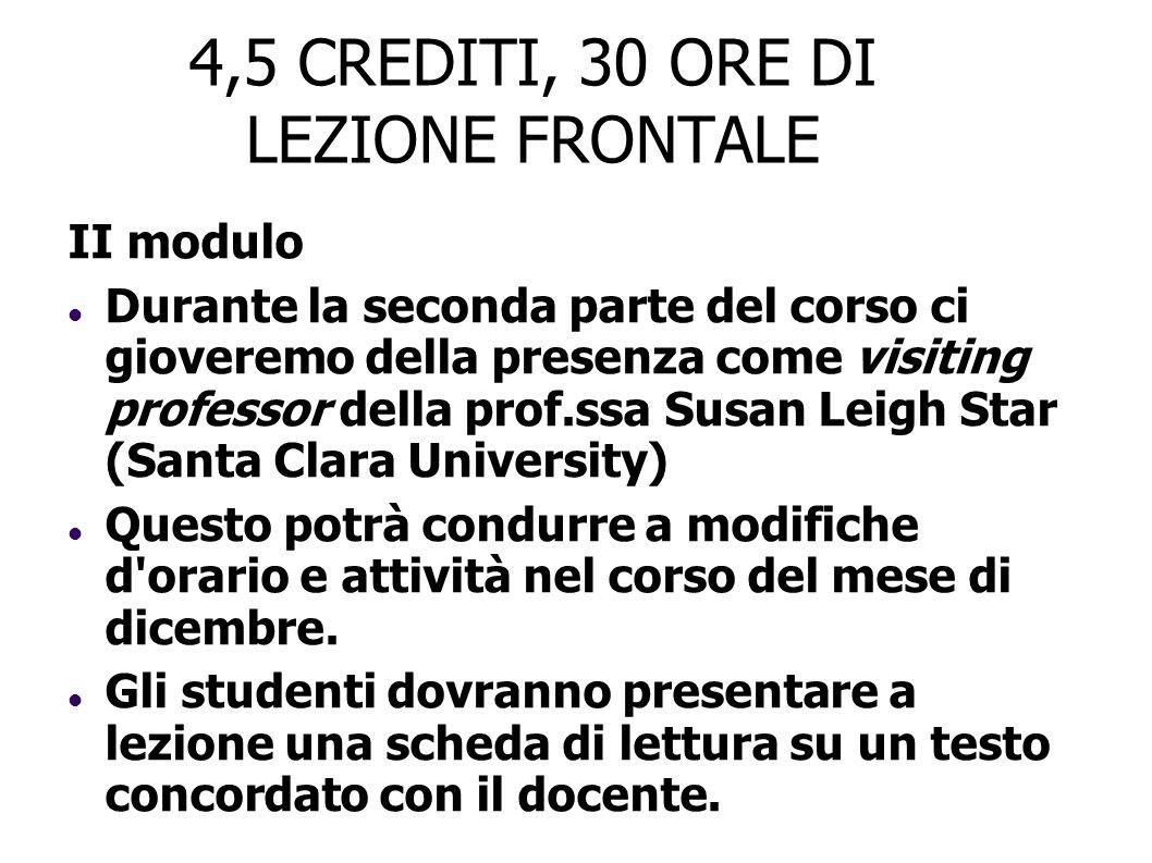 4,5 CREDITI, 30 ORE DI LEZIONE FRONTALE II modulo Durante la seconda parte del corso ci gioveremo della presenza come visiting professor della prof.ss