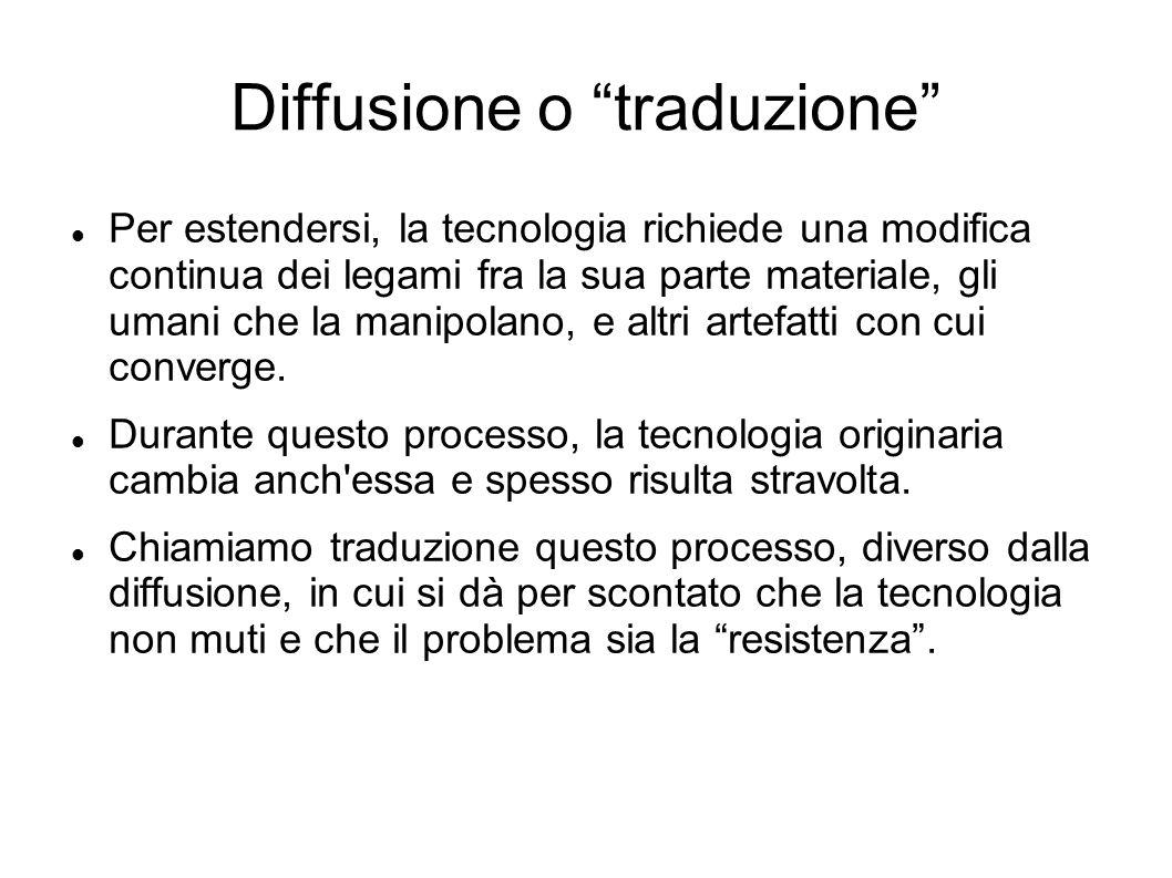 Diffusione o traduzione Per estendersi, la tecnologia richiede una modifica continua dei legami fra la sua parte materiale, gli umani che la manipolan