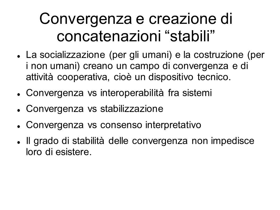 Convergenza e creazione di concatenazioni stabili La socializzazione (per gli umani) e la costruzione (per i non umani) creano un campo di convergenza
