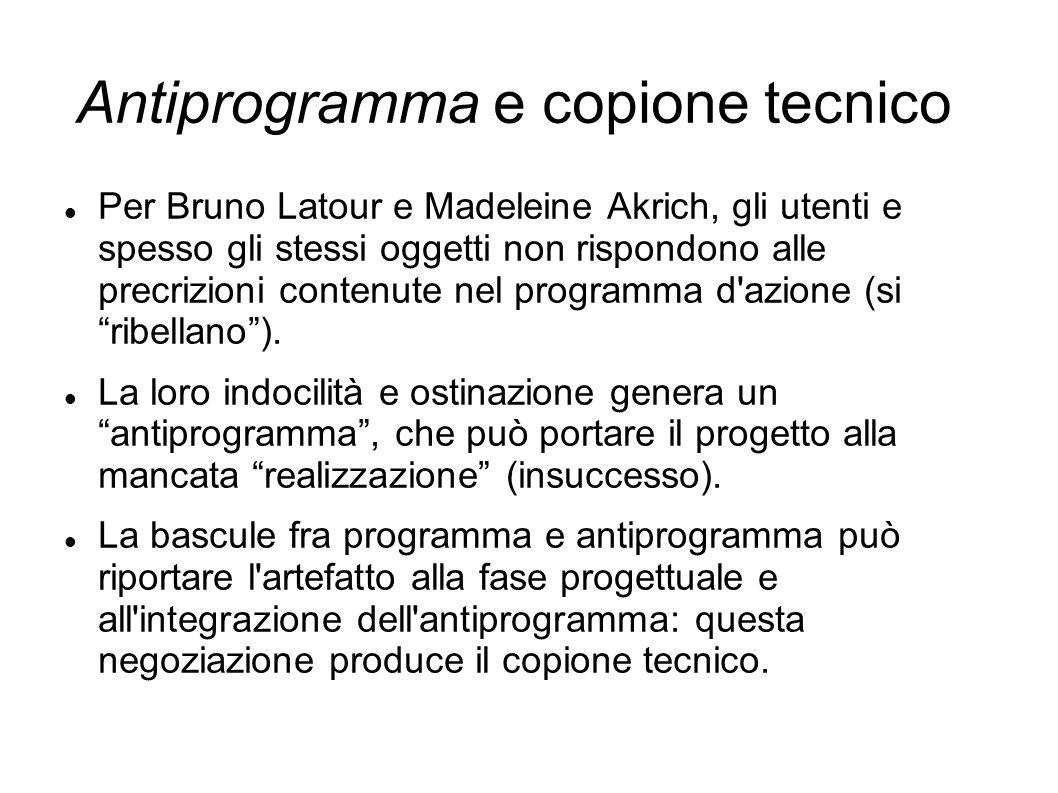 Antiprogramma e copione tecnico Per Bruno Latour e Madeleine Akrich, gli utenti e spesso gli stessi oggetti non rispondono alle precrizioni contenute
